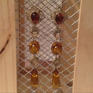 "Gold Tone Long 4 1/2"" Dangle Earrings"